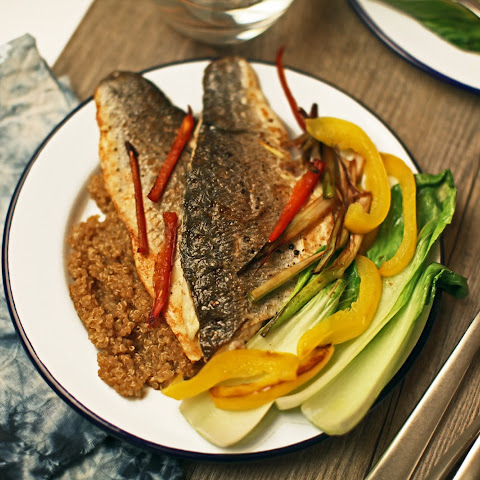 Ginger & Spring Onion Sea Bass With Miso & Lime Quinoa