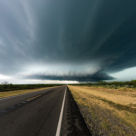 Deep south supercell by Matic Cankar - Landscapes Weather ( clouds, thunder, chasing, grass, no person, texas, flat, road, storm, usa, empty, trees, lines )