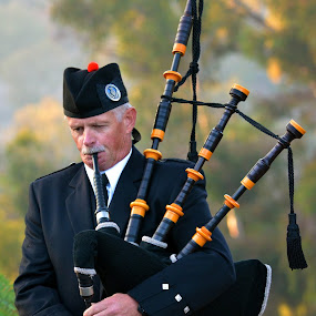 Scottish Bagpipes by Peter Murnieks - People Musicians & Entertainers ( music, playing, quilt, forrest, bagpipes, bag, scotts, scotish, trees, culture, object, musical, instrument,  )