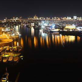 Granville Island by Cory Bohnenkamp - City,  Street & Park  Skylines ( water, skyline, granville, night, gold, bridge, inlet, burrard, city, island )