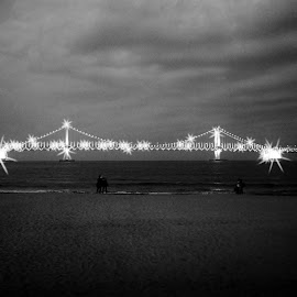 Diamond bridge by Ray Lessiter - Landscapes Weather ( camera effects, black and white, summer, night, bridge )