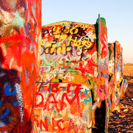 Cadillac ranch by Scott Thomas - Landscapes Travel ( #cadillac ranch, #cadillacs, #paint, #cars, #travel )