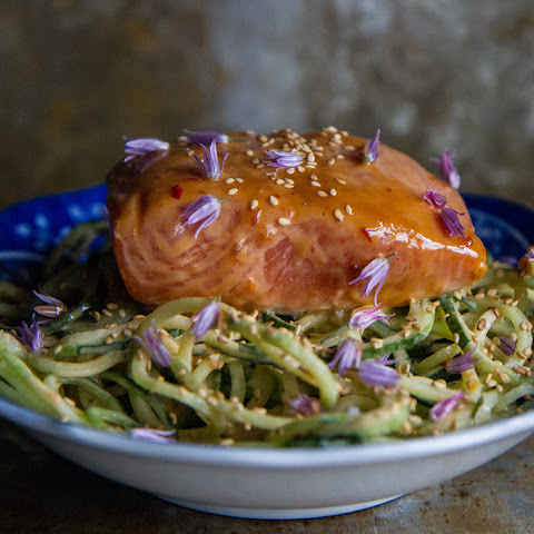 Grilled Tahini Glazed Salmon with Cucumber Noodles