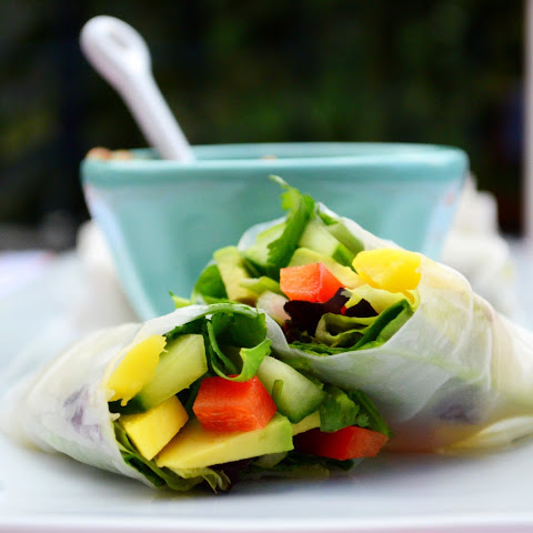 Red Pepper + Mango Summer Rolls with Spicy Peanut Sauce