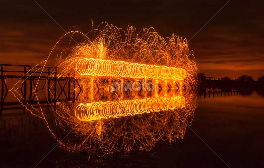 Boardwalk Fire by Don Alexander Lumsden - Abstract Light Painting ( Steel wool )