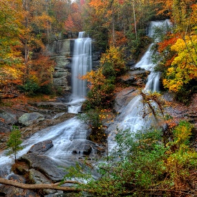 Twin Falls by Steven Faucette - Landscapes Waterscapes ( mountains, waterfall, fall, pickens, south carolina )