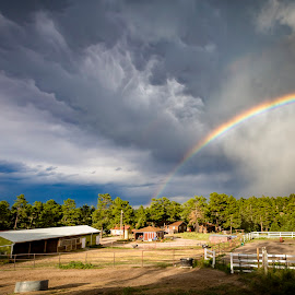 Rainbow over the ranch by Noah Gallagher - Landscapes Weather ( farm, clouds, ranch, horses, weather, storm, rainbow )
