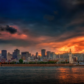 Sunset over Montreal by Dragan Milovanovic - City,  Street & Park  Skylines