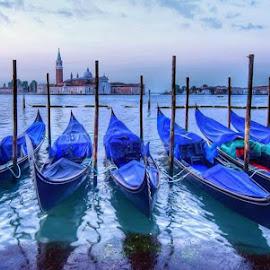 Gondolas at sunrise by Theresa Rasmussen - Transportation Boats