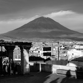 Misti Looming by Todd Dubé - Landscapes Deserts ( mountain, desert, peru, black and white, arequipa, candid, travel, cityscape, city, contrast, blackandwhite, mountains, volcano, south america, volcanoes, scenery, bnw, travel photography, travel locations )