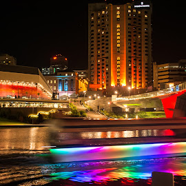 Adelaide by night by Diane Flynn - Buildings & Architecture Office Buildings & Hotels ( water, south australia, reflection, adelaide, boat, city, popeye, lights, buildings, night, festival, torrens river, fringe, river )