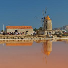 Windmill by Tomasz Budziak - Buildings & Architecture Public & Historical ( building, salt lake, windmill, sicily )