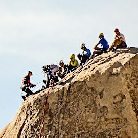 Last to the Top by Richard Michael Lingo - Sports & Fitness Climbing ( climbing, sitting, sports, joshua tree, people )