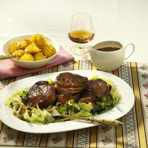 Venison with Cognac Sauce and Duchess Potatoes