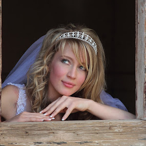 At the window by Johan Niemand - Wedding Bride ( window, crown, wedding, bride )