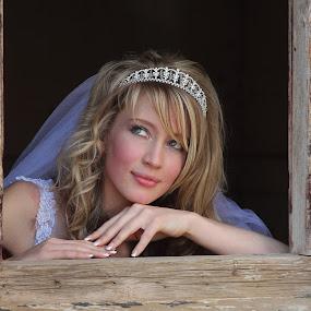 At the window by Johan Niemand - Wedding Bride ( window, crown, wedding, bride )