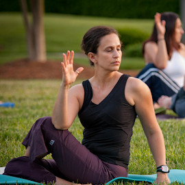 Yoga Class in the Park by Myra Brizendine Wilson - Sports & Fitness Fitness ( fitness, fitness and health, exercise, yoga in the park, yoga, yoga class,  )
