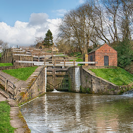 Bingley Five Rise Locks by Sam Gosnay - Buildings & Architecture Bridges & Suspended Structures ( barge, stream, old, bridge, river, locks, boat, architecture )