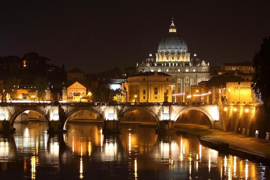 Vatican City by Bryan Rasmussen - Landscapes Travel ( night, vatican, bridge, italy )