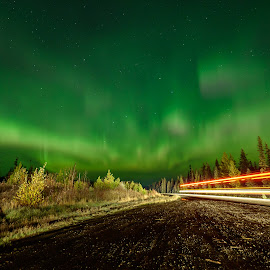 Zoom by Ronnie Sue Ambrosino - Landscapes Starscapes ( lights, light trail, sky, light painting, stars, aurora, aurora borealis, road )