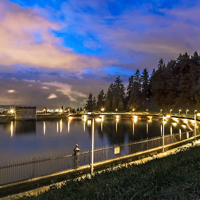 Mt. Tabor Reservoir by Eric Hanson - City,  Street & Park  City Parks ( water, clouds, oregon, reflection, portland, dark, trees, long exposure, night, tabor )