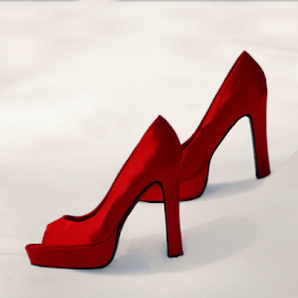 Red Shoes On Snow by Robin Amaral - Artistic Objects Clothing & Accessories ( glamour, shoes, fashion, red, stillhettos, style, snow, high heels, velvet, open-toed, shadows )