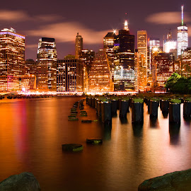 City of many colors by Carol Montgomery - City,  Street & Park  Skylines ( colors, night, cityscape, nyc, brooklyn )