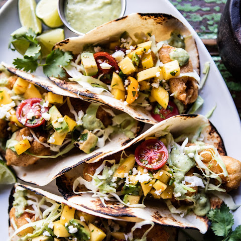 Baja Fish Tacos with Chipotle Mango Salsa.