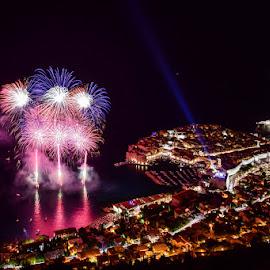 Opening Dubrovnik summer festival by Miho Kulušić - Abstract Fire & Fireworks ( orange, dubrovnik, waterscape, city lights, fireworks, pink, night, cityscape, landscape, black,  )