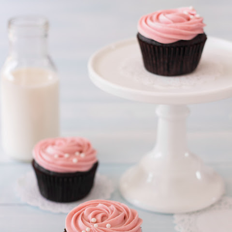 Double Chocolate Cupcakes with Strawberry Cream Cheese Frosting