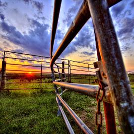 The Gate by Derrill Grabenstein - Landscapes Prairies, Meadows & Fields
