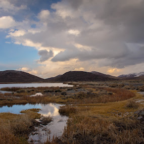 Veterans Parkway Watershed by John Shelton - Landscapes Deserts ( clouds, water, desert, winter, reno, wetlands, nevada )