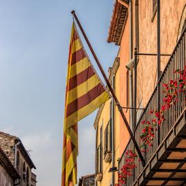 Catalonian street by Vibeke Friis - City,  Street & Park  Neighborhoods ( catalonian flag, spain )