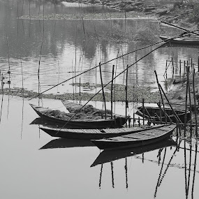 Beautiful Bangladesh. by Sofia Zaman - Landscapes Waterscapes ( water, reflection, bamboo, riverside, nature, boats, river )