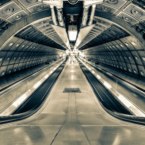 Welcome To The Machine... by Mike Woodford - Buildings & Architecture Architectural Detail ( infinite, tube, metal, tunnel, escalator,  )
