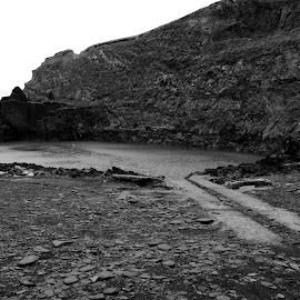 The Beach that was a Quarry by DJ Cockburn - Landscapes Beaches ( monochrome, black and white, wales, pembrokeshire, slate, sea, coastline, landscape, coast, grayscale, abereiddi, quarry, pembrokeshire coast national park, blue lagoon, national trust, abereiddy, st david's peninsula )