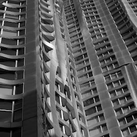 New York by Frank Gerhy by Victor Mirontschuk - Buildings & Architecture Other Exteriors ( gehry, building, b&w, exterior, apartment, architecture )