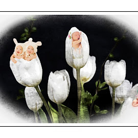 the buds of spring by Kathleen Devai - Digital Art People ( fantasy, child, baby, bud, flower )