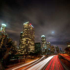 Down Town Los Angeles by Edin Chavez - Buildings & Architecture Office Buildings & Hotels ( skyline, ca, california, la, los angeles, night shot )