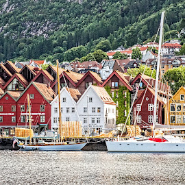 Bergen Bryggen by Richard Michael Lingo - City,  Street & Park  Historic Districts ( city, bryggen )