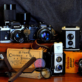 100 Years of Photography by Anita Frazer - Artistic Objects Still Life ( steroscope, cameras, antiques,  )