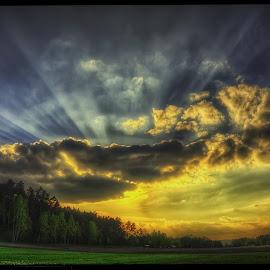 sunset  by Petr Klingr - Landscapes Sunsets & Sunrises ( lights, clouds, hdr, sunset, ray of light )