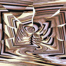 Frame of Mind by Joerg Schlagheck - Digital Art Abstract ( abstract, magic., purple, fake wood, wood, thinking, illusion, mind )
