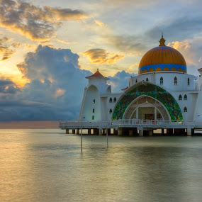 malacca straits mosque by Macbrian Mun - Landscapes Sunsets & Sunrises ( muslim, water, building, colors, mosque, malaysia, architecture, seascape, sky, color, malacca, sunset, asia, dramatic, view, religious )