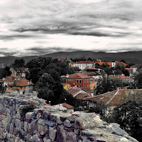Past and Present by Sergey Sokolov - City,  Street & Park  Vistas ( plovdiv bulgaria old part hdr town )