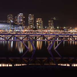 Athlete's Village Bridge by Cory Bohnenkamp - Buildings & Architecture Bridges & Suspended Structures ( building, olympics, night, architecture, bridge, athletes village, vancouver, city at night, street at night, park at night, nightlife, night life, nighttime in the city )