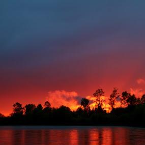 Sunset on the Skagit River by Brent Monique Makenzie Moran - Landscapes Sunsets & Sunrises ( canon, water, clouds, skagit river, reflection, skagit, 70d, skagit valley, skagit county, usa, sun, washington, eos, washington state, red, blue, sunset, cloud, river,  )