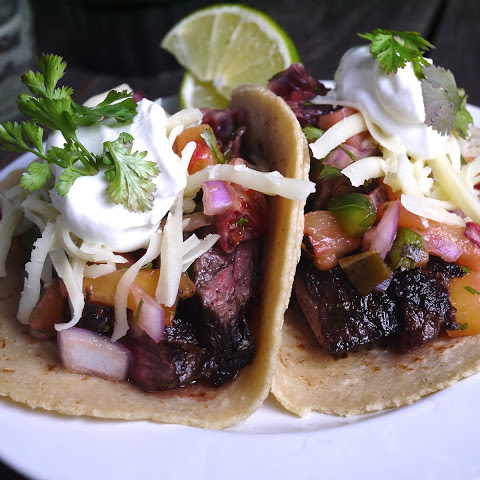 Blood Orange and Tequila Marinated Skirt Steak Tacos with Roasted Pineapple Salsa