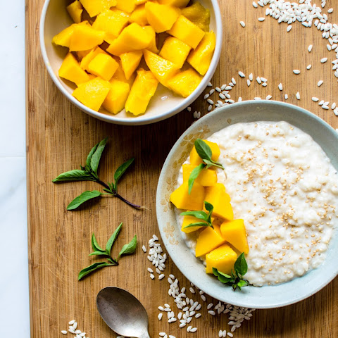 Thai Basil-Infused Coconut Rice Pudding with Mango
