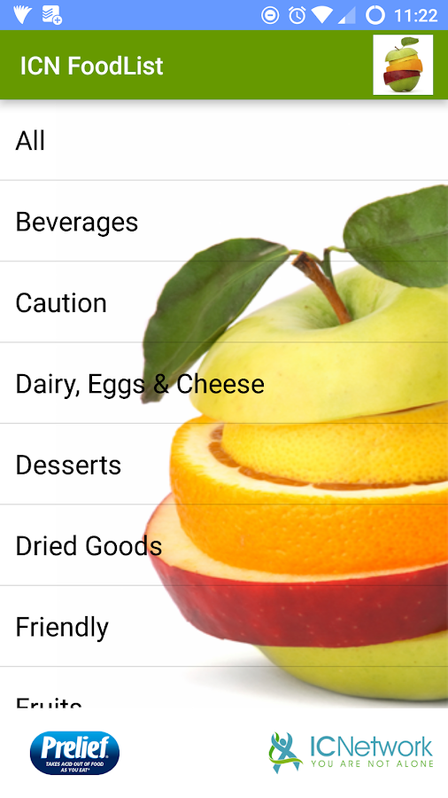 ICN Food List Screenshot 0
